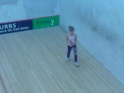Aimee learning squash